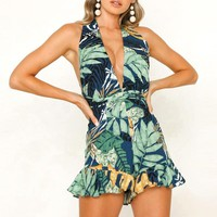 Deep v-neck leaf printed romper Women boho backless sash playsuit beach holiday sleeveless sexy overalls female