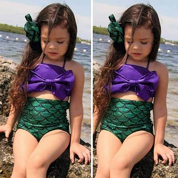 Girls Lovely Mermaid Tail Swimmable Swimming Princess Costume Kids Swimsuit Two Pieces