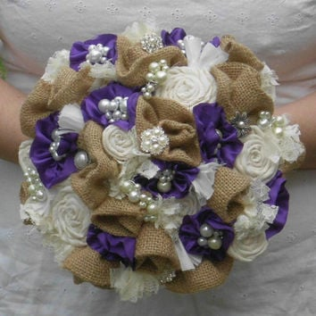 Burlap Bouquet, Brooch Bouquet, Broche, fabric flower, Bridal, Rustic, purple, Country, Vintage, Wedding, Shabby Chic, Lace Rosettes Pearls