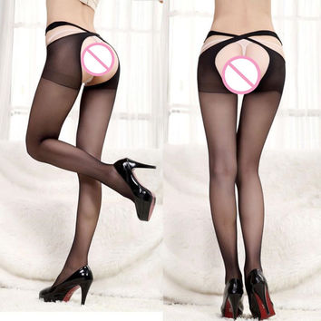 5 Colors Women Ladies Sheer Criss Cross Suspender Tights /crotchless