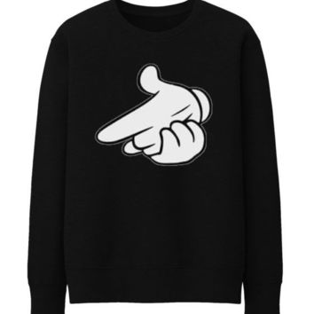 Air gun Drake OVO OWL Mickey Mouse hands Unisex Crewneck Sweatshirt Top Funny - BLACK