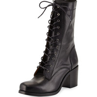 Kendall Leather Lace-Up Boot, Black - Frye