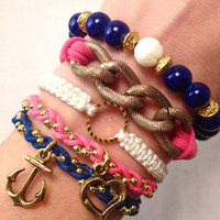 Prepster Navy and PInk Arm Candy Set