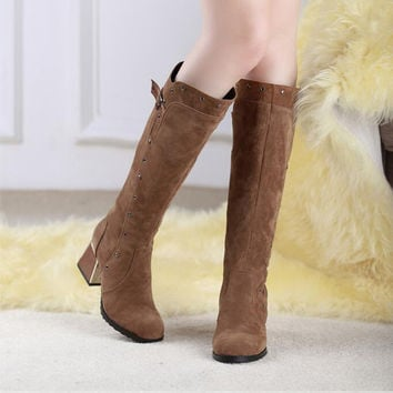 Suede Round Toe Middle Block Heel Knee High Boots