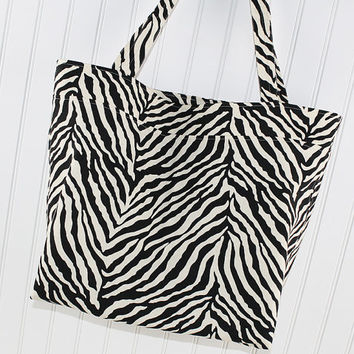 Zebra Print Large Tote Bag, Animal Print Market Bag, MK152