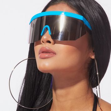 Act Up Reflective Shield Sunnies Tropical Blue