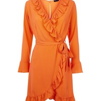 Bright Orange Frill Trim Wrap Front Dress | New Look