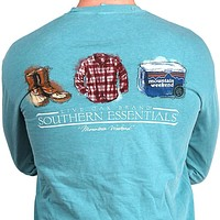 "Southern Essentials ""Mountain Weekend"" Long Sleeve Pocket Tee in Seafoam by Live Oak"