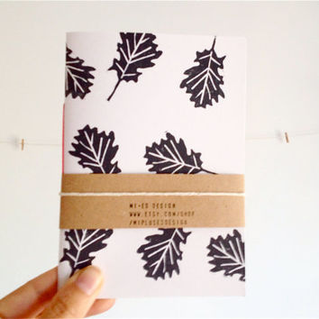 Pocket Journal Linocut Oak Leaf in Black and White, Minimalist and Woodland