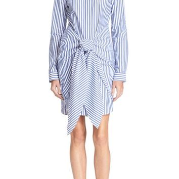 N NICHOLAS Stripe Cotton Tie Front Shirtdress | Nordstrom