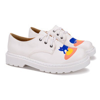 White Doodling Cat Print Lace Up Flatform Shoes