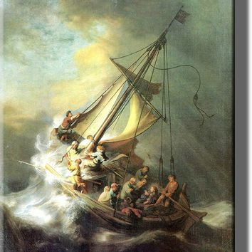 Christ in the Storm on the Lake of Galilee, Rembrandt - Picture on Stretched Canvas, Wall Art Décor, Ready to Hang!.