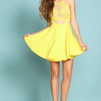Yellow Mirrored Lace Flare Dress