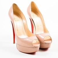 AUGUAU  Nude  Beige Christian Louboutin Patent Leather  Lady Peep  Pumps
