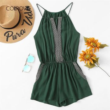 COLROVIE Embroidered Tape Boho Cami Summer Romper 2018 New Mid Waist Geometric Women Rompers Straps Pocket Casual Playsuit