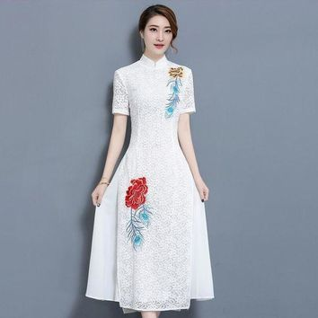 LMFOK8 2017 summer new ladies large size dress Literature and art Retro lace embroidery flowers elegant dress w279