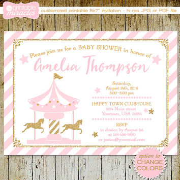 Carousel baby shower, Printable horse carousel invite, pink gold carnival invitation