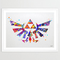 Hyrule Crest Legend of Zelda Modern Link Watercolor Art Print,Wall Art Hanging,Home Decor,Boys Room Art,Motivational,Inspirational,No 6