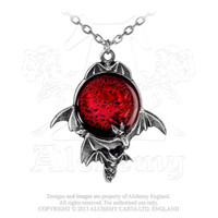 Alchemy Gothic Blood Moon Flying Bats Pendant Necklace