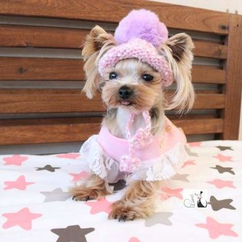 Hand Knitted Furry Beanie Yorkie Baby Outfit
