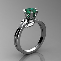 Swan 14K White Gold 1.0 Ct Emerald Fairy Engagement Ring R1030-14KWGEM