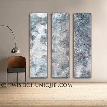 Huge Abstract wall Art, 2 huge wall Art panels, CUSTOM Metal Paintings, Huge Paintings - Steel, Silver, Metallic, Turquoise, blue, sea green