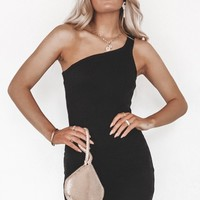 Messing With My Clique Black Ribbed One Shoulder Dress
