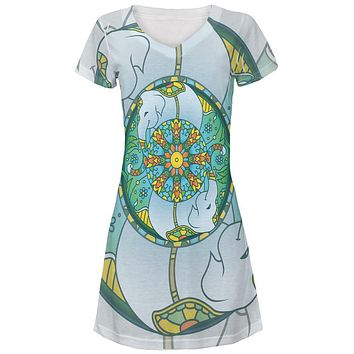 Mandala Trippy Stained Glass Elephant Juniors V-Neck Beach Cover-Up Dress
