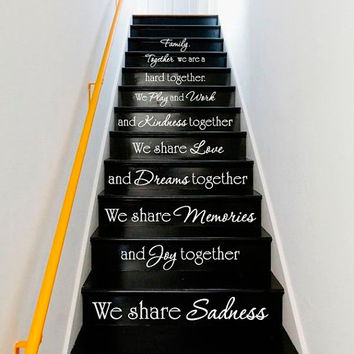Wall Decal Vinyl Sticker Decals Art Decor Design Sign Custom Words Quote Stairs We are Family Love Rules House Home Bedroom Dorm (r265)
