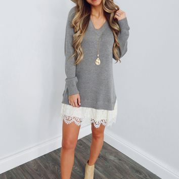 Stay Forever Dress: Grey/Ivory
