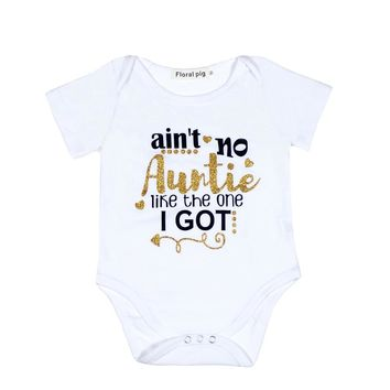 Auntie Baby Clothes Golden Letter Baby Bodysuit White Onesuit Unisex Short Sleeve Newborn Baby Girl First Birthday Boy Outfits