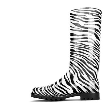 Chemistry Women's Knee-high Jelly Rain Boots Zebra Stripe