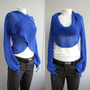 FREE Shipping Long Sleeve Cobalt Blue  Bolero Scarf Shawl Neckwarmer christmasinjuly gift under 100 For Lover