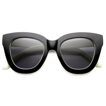 Women's Retro Oversize Block Frame Cat Eye Sunglasses 9784