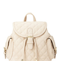 FOREVER 21 Quilted Faux Leather Backpack Taupe One