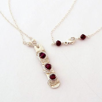 Wire Wrapped Sterling Silver Garnet Necklace - Hand Hammered Layering Necklace - Vertical Bar Beaded Gemstone Necklace - January Birthstone