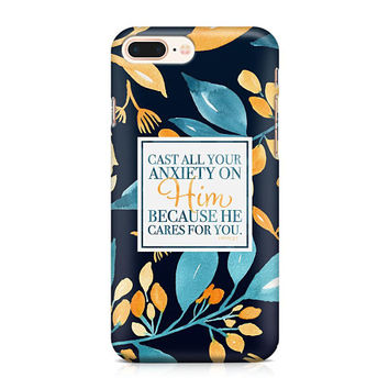 1 Peter 5:7 Phone Case - Floral Phone Case - Scripture Phone Case - Cast All Your Anxiety on Him - iPhone 8 - Galaxy S9