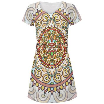 Mandala Trippy Stained Glass Owl Juniors V-Neck Beach Cover-Up Dress