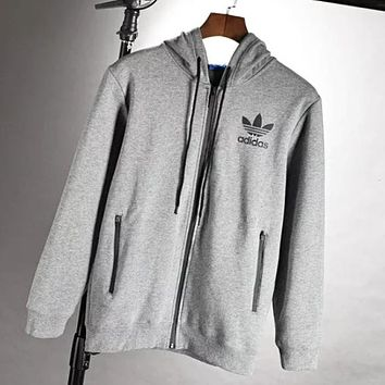 Adidas Men Autumn And Winter New Fashion Bust Letter Leaf Print Hooded Thick Keep Warm Long Sleeve Coat Top Gray