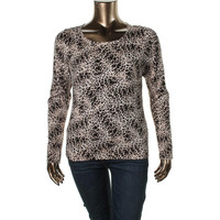 Vince Camuto Womens Knit Animal Print Pullover Sweater