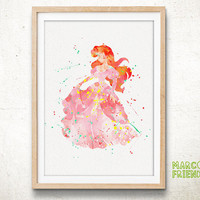 Princess Ariel, The Little Mermaid - Watercolor, Art Print, Home Decor, Watercolor Print, Disney Poster