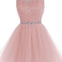 Pink Chiffon Beadings Homecoming Dress