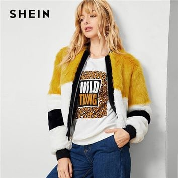 Trendy SHEIN Multicolor Elegant Workwear Cut And Sew Faux Fur Colorblock Zip Up Campus Jacket 2018 Autumn Casual Women Coat Outerwear AT_94_13