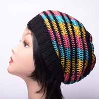 colorfull cotton hat crochet summer beanie Handmade hat Women Slouchy Hat Summer hat black