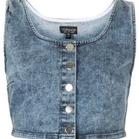 MOTO Vintage Denim Bralet - Denim  - Clothing