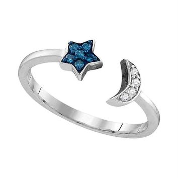 Sterling Silver Women's Round Blue Color Enhanced Diamond Star Crescent Moon Bisected Band Ring 1/10 Cttw - FREE Shipping (US/CAN)