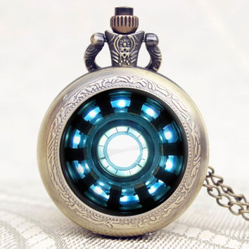 Fashion Iron Man Movies Extension Tony Stark Iron Man Arc Reactor Jarvis Design Pocket Watch With Necklace Chain P1123