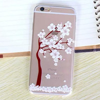 Hollow Out Beautiful Cherry Blossoms TPU iPhone 5se 5s 6 6s Plus Case Cover + Nice Gift Box 368