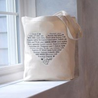LOVE Languages  Tote Bag  Gray on Natural  by BucktoothedBunny
