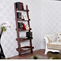 "HomCom 72"" 5-Tier Leaning Ladder Wooden Bookcase - Brown"